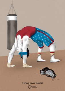 Plakat Trening czyni mostek