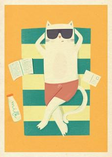 Plakat Kot w okularach
