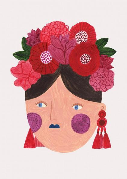 Red flower girl