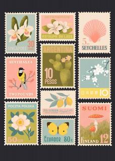 Plakat Znaczki pocztowe